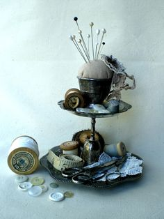 DIY pin cushion and tiered tray....site linked.