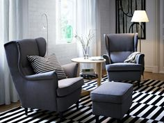 IKEA Fan Favorite: STRANDMON wing chair. Cute and comfy! The high back on this chair provides extra support for your neck