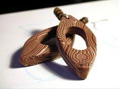 WOOD : orecchini  fatti a mano in argilla polimerica (FIMO) - hand made polymer clay earrings