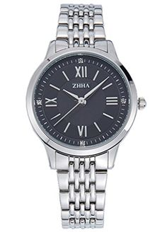 ZHHA Womens 040 Luxury Quartz Black Dial Silver Stainless Steel Bracelet Wrist Watch Waterproof >>> You can find more details by visiting the image link.