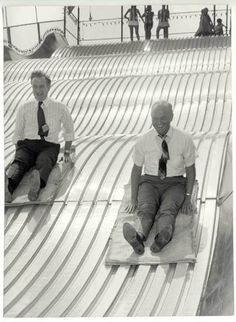 Astronaut and U.S. Senator John Glenn, right, takes a ride on the Giant Slide at the 1970 Ohio State Fair with John J. Gilligan, who was the Democratic candidate for Ohio governor at the time.