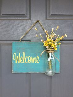 Rustic Welcome Outdoor sign in Teal/Gold by RedRoanSigns on Etsy - Beautiful Decor - Diy Home Crafts, Craft Stick Crafts, Wood Crafts, Fun Crafts, Paper Crafts, Wooden Welcome Signs, Teal And Gold, Handmade Home Decor, Hobbies And Crafts