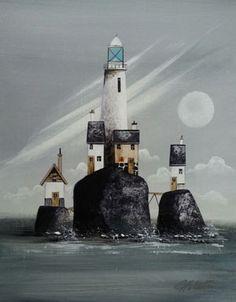 Gary Walton acrylic 'Lighthouse Outcrop II'