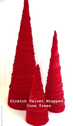 DIY Christmas Cone Trees • Lots of tutorials, including these velvet cone trees by 'Bargain Hoot'!