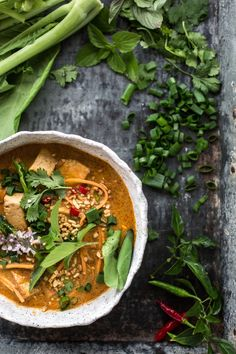 Thai Red Curry Tofu Soup With Sweet Potato Noodles