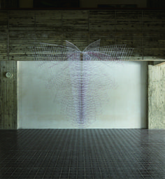 Akane Yorita, In Meantime Becoming Visible Form, rayon threads, stainless steel pipe, plastic pole, H300xW330xD330, 2012