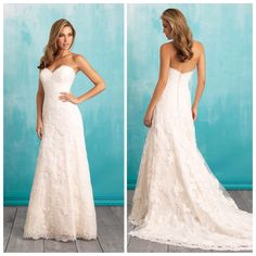 Allure 2910 - Stunning strapless lace a-line with buttons all the way down the train!  Perfect dress to accessorize with a belt!! Marry & Tux Bridal, Marry & Tux Bridal Shoppe, Marry & Tux Nashua, NH, Marry & Tux, Marry and Tux