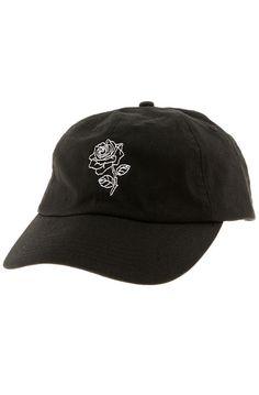 The Rose Strapback Hat in Black