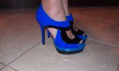 Jessica Simpson blue suede, black patent leather, platform pumps