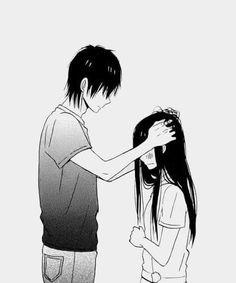black&white, couple, cute couple, kawaii, manga, manga boy, manga cap, manga couple, manga girl, monochrome, relationship, taiyou no ie, shojo, house of the sun, motomiya mao, nakamura hiro, manga shojo