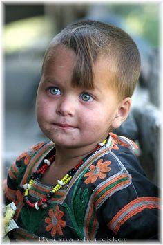 A beautiful Kalash green-eyed girl from Romboor, Kalash valleys, Chitral, Pakistan.