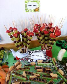 safari party food and party favor ideas - gorilla grape kabobs