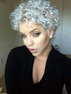Image result for Short Thick Curly Hairstyles for Women Graying
