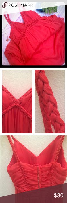 Coral, floor length, lined chiffon dress ❤❤ Beautiful coral dress only worn once. I am 5'4 it goes all the way to the floor. Wear with heels ... perfect! Hook and zipper in the back. Busy is slightly padded. Size M , Bust 28 in all around, length including straps 56 in. Dresses