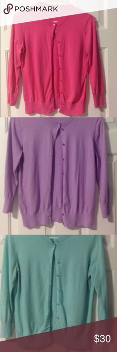 🌷J Crew Clare cardigan bundle Listed as size small, though tags says medium. In my opinion, these would fit an XS-S or size 0-4, depending on desired fit.  Super cute, vibrant Spring colors. Some wash wear, but overall good condition. Includes all three lavender, pink and aqua cardigan.  $18 for all or $7 each J. Crew Sweaters Cardigans