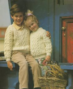 PDF Childrens V or Round Neck Aran Sweater by PDFKnittingCrochet