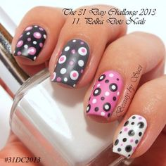 The 31 Day Challenge 2013: Polka Dots#nails #Nailart - Bellashoot.com #dottednails