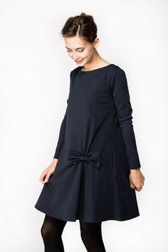 VENTE  robe avec noeud  Robe dautomne  Robe bleu marine