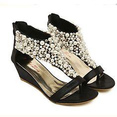57a6e2d492 Women's Wedge Sandals Leatherette Summer T-Strap Platform / Wedge Heel  Imitation Pearl Black /