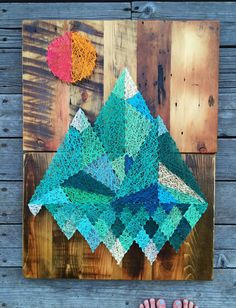 Geometric Mountains on Reclaimed Montana Barnwood - String and Nail Art