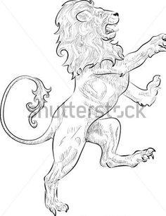 Standing Rampant Lion Tattoo Design