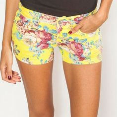 Just In Yellow and Blue Floral Denim Shorts 98% Cotton 2% Spandex.  Size 7 Shorts Jean Shorts