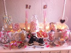 candy cart - wedding set up - pink and white
