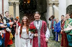 """Jan and Sara from Czech Republic Wedding. Thank you so much for possibility to share this beautiful wedding photos...  """"White Swan"""" dress http://armstreet.com/store/medieval-clothing/medieval-fantasy-wedding-dress-white-swan  and Eastern Europe Costume in red and white http://armstreet.com/store/medieval-clothing/eastern-europe-medieval-tunic-overcoat-costume- great choice for wedding"""