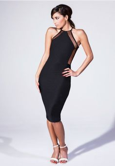 Midi Dress With Fishnet Racer Neck - Nicole x Missguided