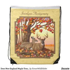 Deer New England Maple Tree Autumn Yellow Drawstring Backpack