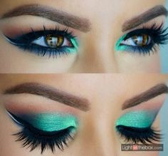 Green with envy eyeshadow look with adorable lashes!