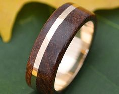 Gold and Silver Un Lado Asi Wood Ring by naturalezanica on Etsy
