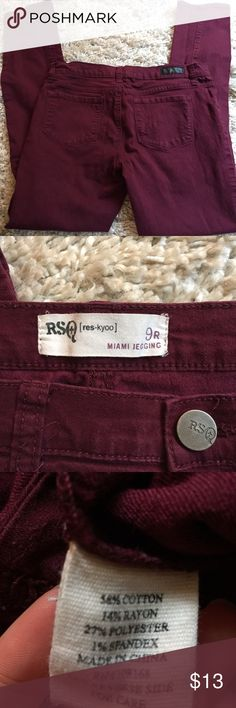 "RSQ, by Tilly's, Miami Jegging. Size 9. + Size nine, measuring 15.5"" across  + Inseam 29"" + Material has some stretch to it! + Maroon is great for the fall 😍 + Don't forget to bundle!   ⭐️All items are steamed cleaned and shipped within 48 hours of your purchase.   ⭐️If you would like any additional photos or have any questions please let me know.  ⭐️Sorry, no trades. But will listen to ALL fair offers. Thanks for shopping! Tilly's Jeans Skinny"
