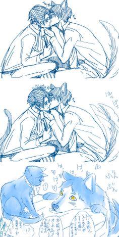 cat!Levi x dog!Eren ~ love me