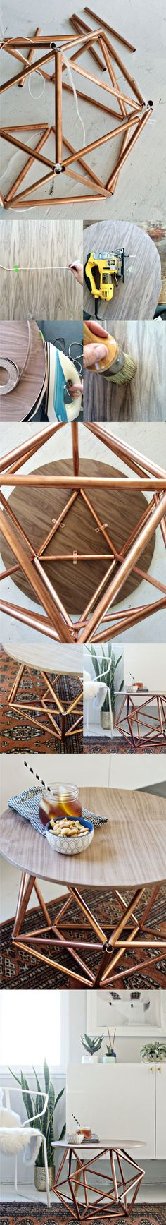 Diy Copper Pipe DIY Side Table Tutorial Money is another sign that you may want or need to remodel y Diy Luminaire, Diy Lampe, Diy Interior, Diy Projects To Try, Clever Diy, Diy Furniture, Diy Home Decor, Diy And Crafts, Design