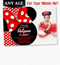 Items Similar To Minnie Mouse Birthday Invitation Red Polka Dot First Second Third Photo On Etsy
