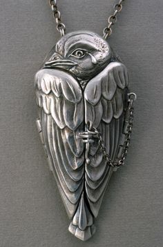 """""""A Tear for Icarus"""" fine silver locket, Terry Kovalcik. I love this sooo much. If you love it too check out the pic of the interior of the locket. So cool. I'd love one..."""