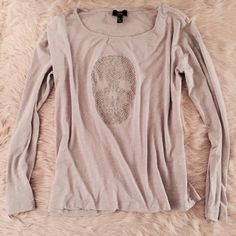 Skull Tee Light Grey Long Sleeve Skull Tee. Light weight and very comfy. Worn once. Size M. MNG Tops