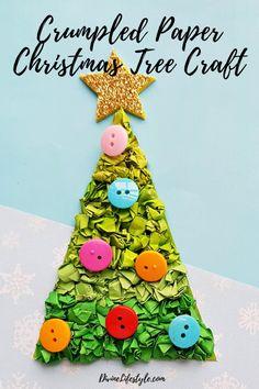 Crumpled Paper Christmas Tree Craft  //   DivineLifestyle.com    //    #Christmas #ChristmasCrafts #christmasdecor #christmastree #craft #decor #diychristmas #diydecorations #holidaycraftideas #kidscrafts #kidscraftideas  #projectswithkids #SantaCraft Christmas Arts And Crafts, Santa Crafts, Diy Christmas Tree, Christmas Tree Decorations, Holiday Crafts, Tissue Paper Crafts, Creative Gift Wrapping, Crumpled Paper, Diy Makeup