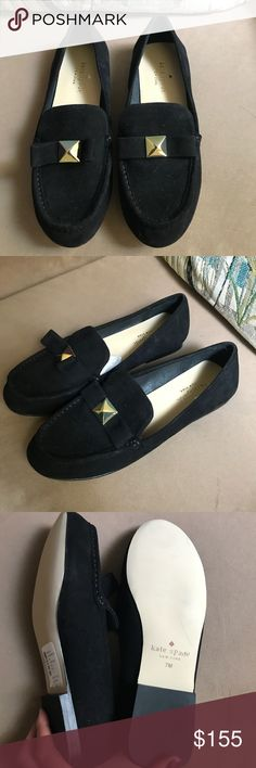 """⚡️NWT! Kate Spade"""" Black Suede Flats w/bow ⚡️NWT! Kate Spade"""" Black Suede Flats w/bow gold piece in the middle ! Size 7m .. Brand New✨ does not come with box ! kate spade Shoes Flats & Loafers"""
