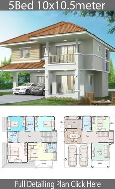 House design plan with 5 bedrooms - Home Ideas Haus Design Plan mit 5 Schlafzimmern - Home Design with Plansearch 2 Storey House Design, Duplex House Design, Duplex House Plans, House Front Design, Small House Design, Modern House Design, House Design Photos, House Layout Plans, Family House Plans