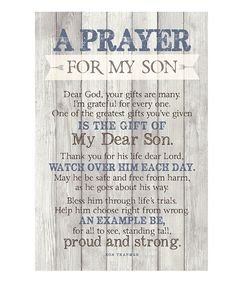 Take a look at this 'Prayer for My Son' Wood Plaque today!