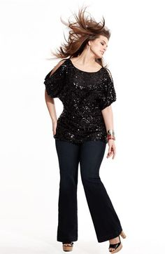 Adrianna Papell Top & James Jeans Flare Leg Jeans