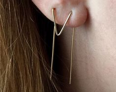 Double Piercing Earrings, Chevron Earrings, Triangle Double Threader Earrings, Triangle Earrings, Threader Earrings, Double Earrings