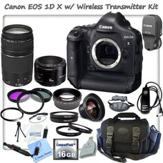 Canon EOS-1D X Digital SLR Camera With Canon WFT-E6A Wireless Transmitter, Canon EF 75-300mm f/4-5.6 III Telephoto Zoom Lens & Canon EF 50mm f/1.8 II Camera Lens + CS Pro Kit: Includes Canon Remote Switch RS-80N3, 16GB High Speed Compact Flash Memory Card, CF Card Reader, Wrist Strap, High Definition Wide Angle Lens, Telephoto HD Lens, 3 Piece Professional Filter Kit (UV,CPL,FLD) 4 Piece Macro Close-up Set, UV Filter, Lens Cap Keeper, Professional Carrying Case, Starters