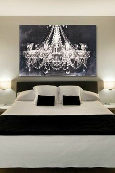 The chandelier art by Oliver Gal gives a romantic touch to this bedroom. Black and white bedroom ideas. Classy and elegant. Chandelier Art, Chandelier Picture, Bedroom Chandeliers, Painted Chandelier, White Chandelier, Iron Chandeliers, Couple Bedroom, Dream Bedroom, Bedroom Romantic