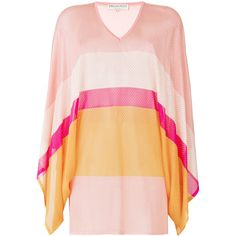 Emilio Pucci striped V-neck jumper ($1,055) ❤ liked on Polyvore featuring tops, sweaters, stripe sweaters, long sleeve tops, pink jumper, pink v neck sweater and long sleeve jumper