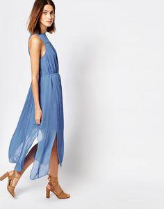 Image 4 ofWarehouse Micro Pleat Midi Dress