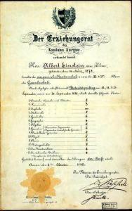 Bulletin scolaire d'Albert Einstein