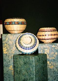 Baskets by Mary Stone  Mary is a member of the Cherokee Nation who is an established artist. She creates contemporary and traditional baskets using her unique personal touch. She has blended traditional Oklahoma Cherokee double-walled basket techniques with her own special methods she has refined over the years. Contact Mary at mstone777@aol.com for pricing information.